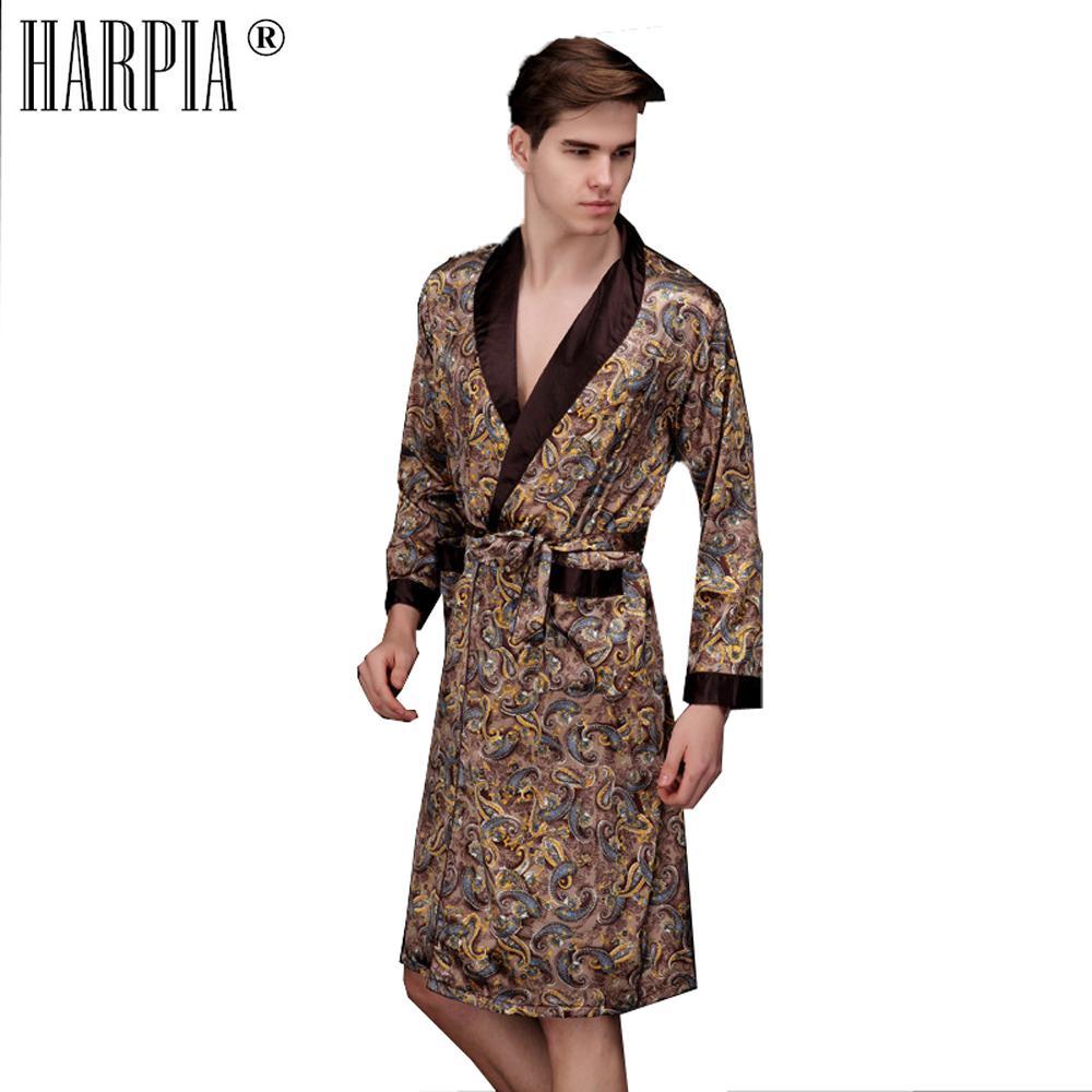 0ade74a23b Acquista Estate Autunno Stampa Robe Raso Sleepwear Negligee Accappatoio Uomo  Mens Kimono Bath Gown Uomo Faux Abiti Di Seta Plus Size Dressing Gowns A  $47.42 ...