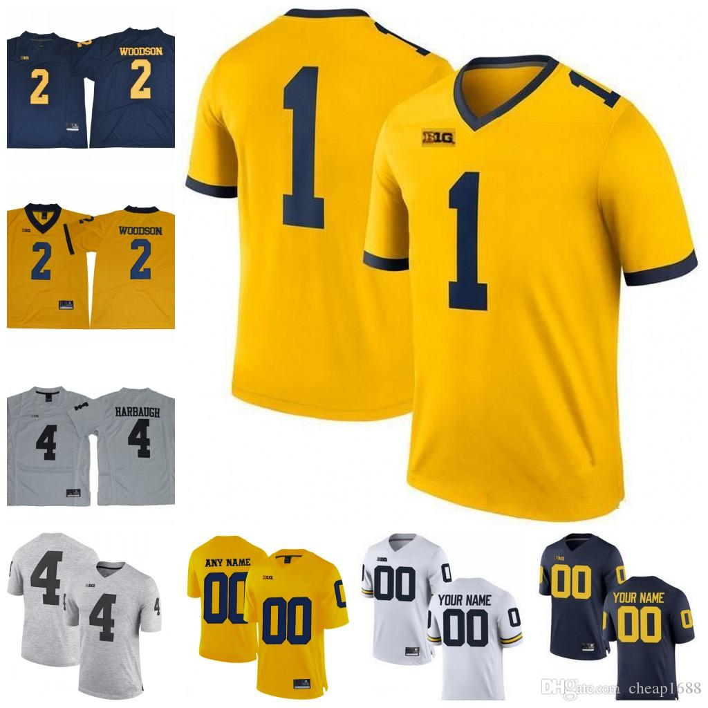 Custom Michigan Wolverines College Football Jerseys Big 10 NEW Gold Gray  White Navy Personalized Stitched Any Name Number NCAA Jersey Michigan  Wolverines ...