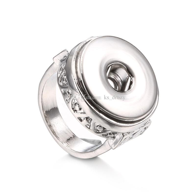 Hot New 4 Size Noosa Snap Rings DIY 18MM Ginger Snap Button Rings Women Men Jewelry
