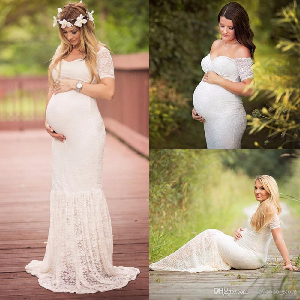 Maternity Photography Props Maternity Dresses Plus Size Lace Fancy ...