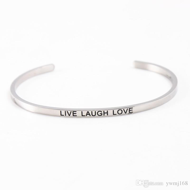 New Silver Stainless Steel Bangle Engraved Positive Inspirational Quote Hand Stamped Cuff Mantra Bracelets For Women Best Birthday Gifts