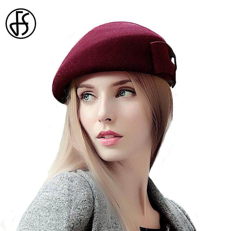 Compre FS Elegante 100% Lana Sombreros De Boina Francesa Negro Rojo Marrón  Con Arco Para Mujeres Invierno Pastillero Sombrero Fedora Vintage Azafata  Gorra A ... 2eaa988a164