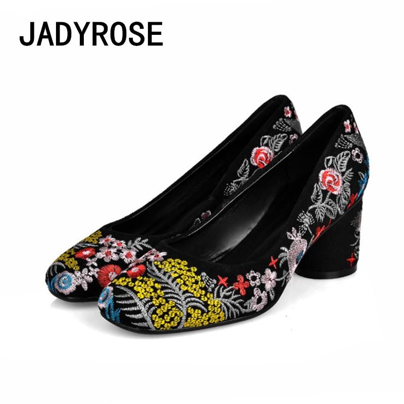 c5d88af00a80 Vintage Women Square Toe Pumps Black Suede Embroider 6cm Chunky High Heels  Prom Party Shoes Handmade Design Ladies Dress Shoes Boat Shoes Shoes For  Men From ...