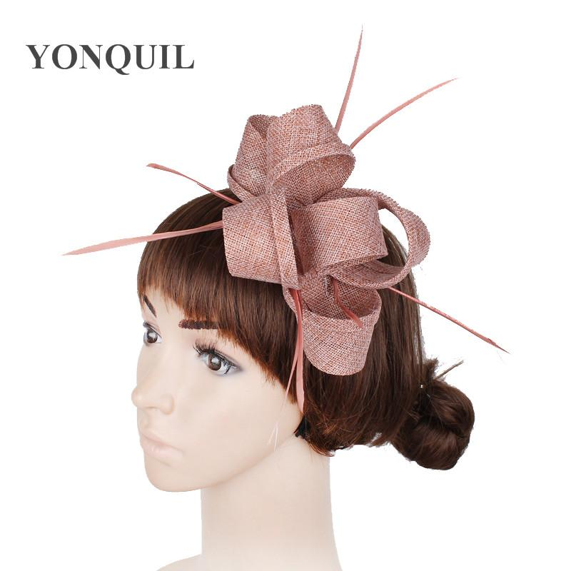 Peach Or Multiple Colors Imitation Sinamay Fascinator Hats Women Wedding  With Feather Hair Accessories Ladies Party Headbands Fabric Party Hat Fairy  Party ... 16f44d57f99