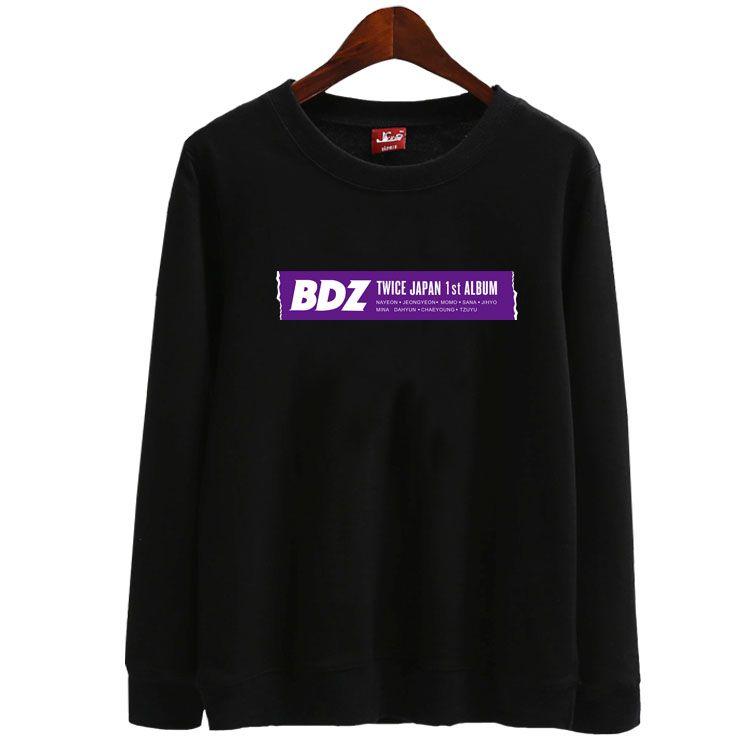 Twice japan 1st album bdz all member name printing o neck thin sweatshirt  kpop once unisex fashion loose pullover hoodies