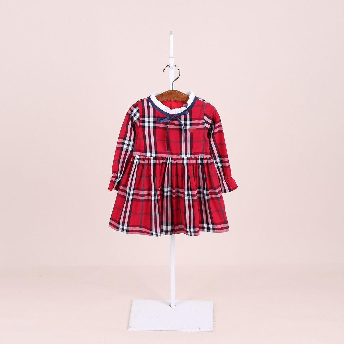 e11c1a62f01e 2019 2018 Girl Skirt Cotton Spring Autumn Children S Clothes Korean Edition  Princess Polychromatic Lattice Pure Children Dress Knee Length From ...