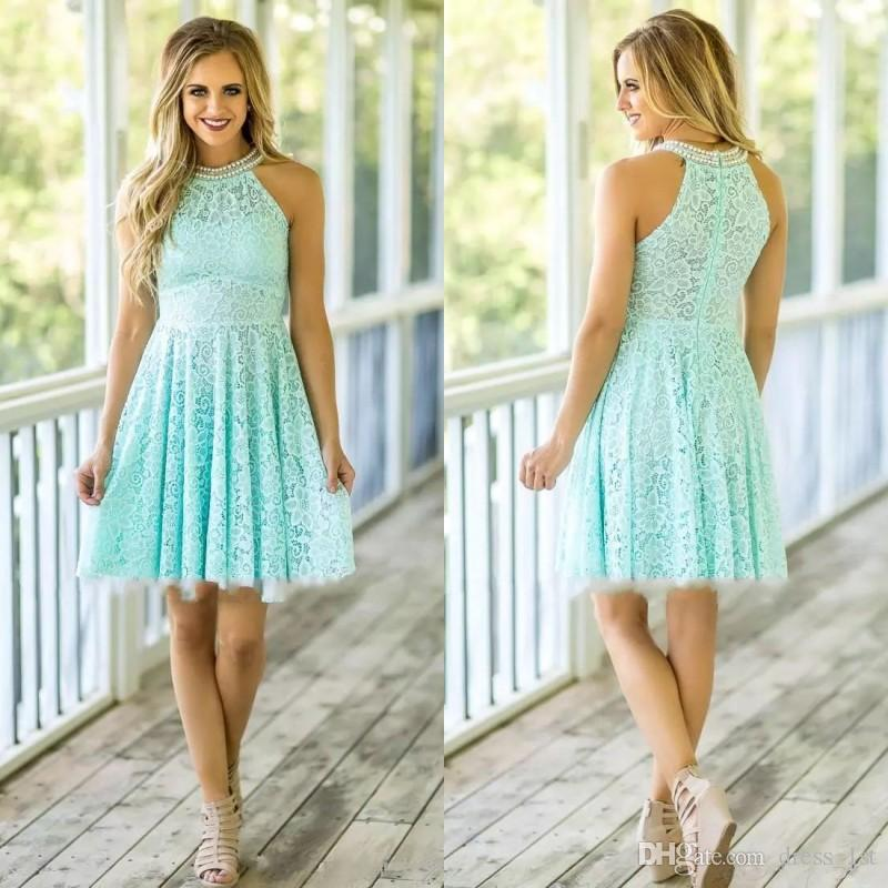 Spring 2019 Mint Lace Short Bridesmaid Dresses Cute Pearls Beaded Halter Neckline A Line Knee Length Wedding Guest Dresses Custom Made