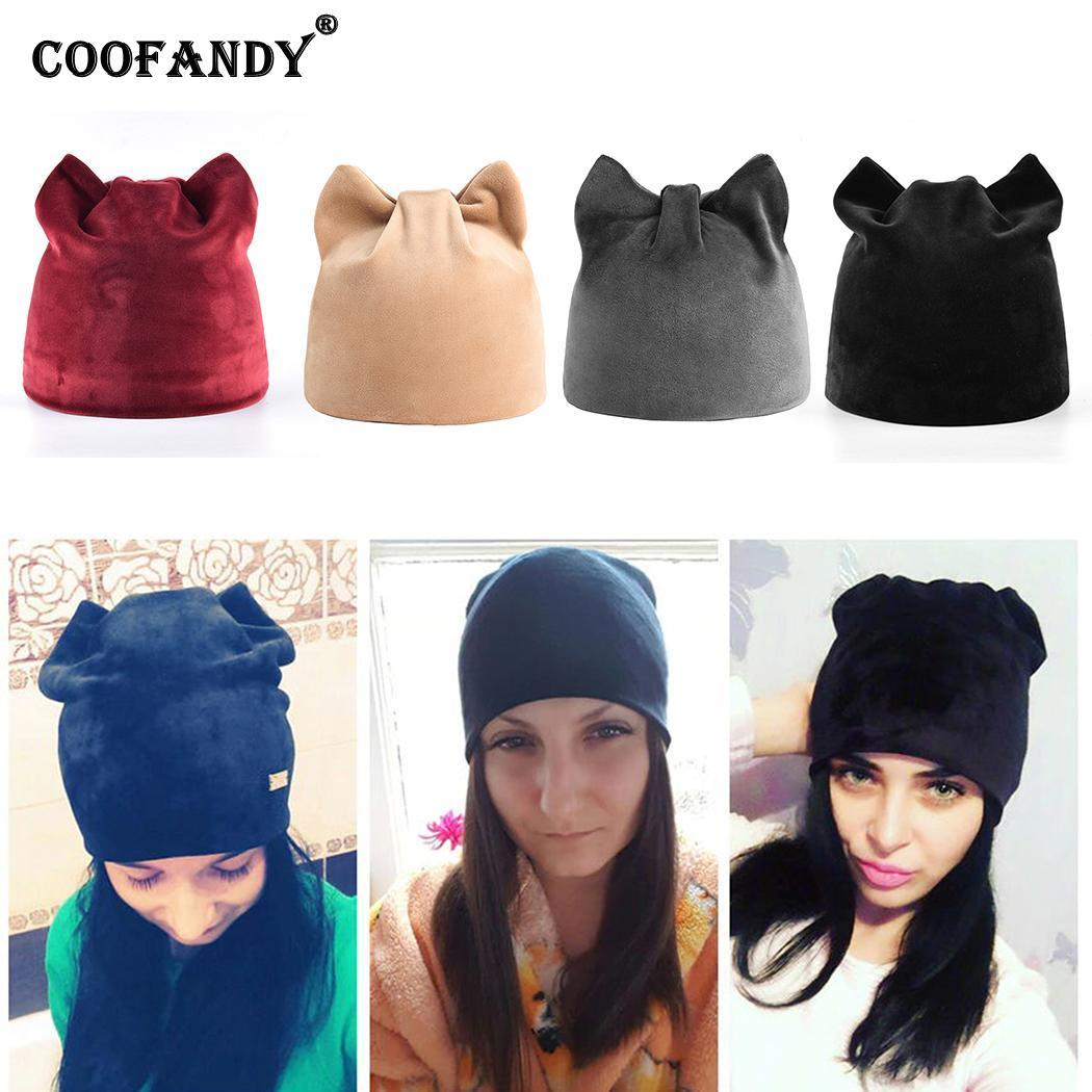 f24dc270b73 Ears Shaped Solid Winter Soft Red Only Women Hats Hand Wine Dark Gray Black  Warm Cat Wash Khaki Stretchy Headwear Hoodies Beanies From Clintcapela