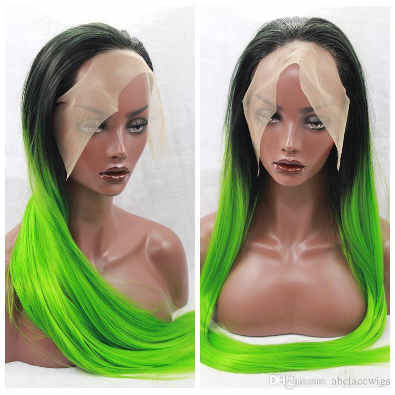 Charming Cosplay Sexy Ombre Green Long Silky Straight Lace Front Wigs Heat Resistant Glueless Synthetic Lace Front Wigs for Black Women
