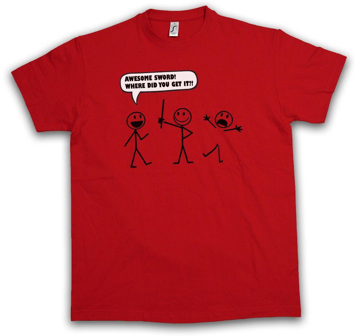 ebe0852f Awesome Sword T Shirt Stick Figure Strichmannchen Fun Comic Sizes S 3xl Men T  Shirt Print Cotton Short Sleeve T Shirt Tshirt Designs T Shirt Design  Template ...