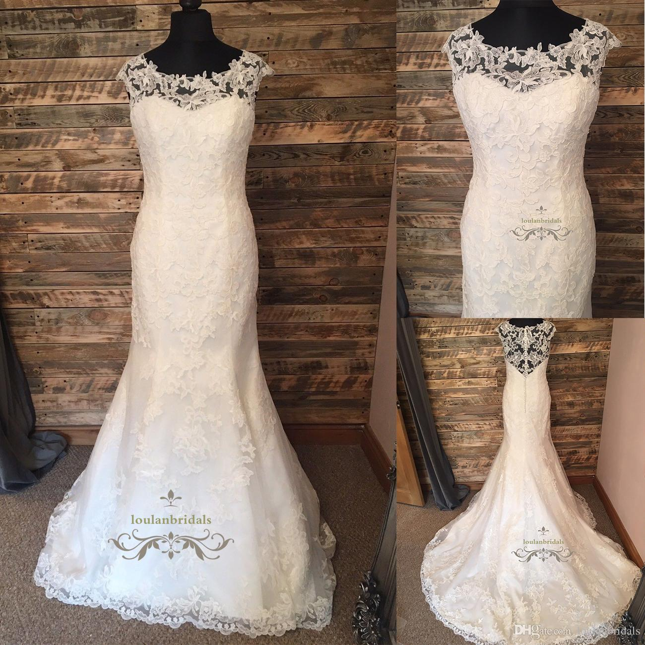 Discount Mermaid Trumpet Illusion Lace Wedding Dress With Scoop ...