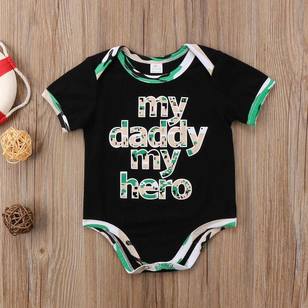 19e674d8f5ba 2019 Newborn Baby Boys Toddler Camo Romper Letter Print Jumpsuit ...