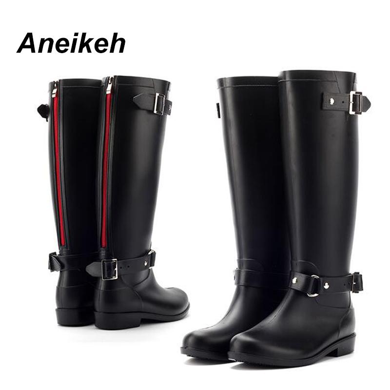 15eae60316b14 Aneikeh PVC Women Rain Boots Girls Ladies Rubber Shoes For Casual Walking  Outdoor Mid-calf Waterproof Female Low Heel Shoe