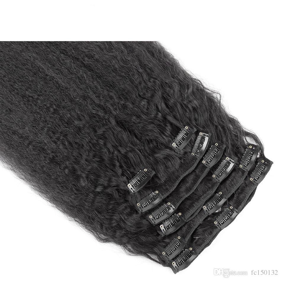 Дешевые клип в человеческих волос расширения природных черные волосы яки клип в расширениях 10 шт. кудрявый прямо клип в расширениях 120 г