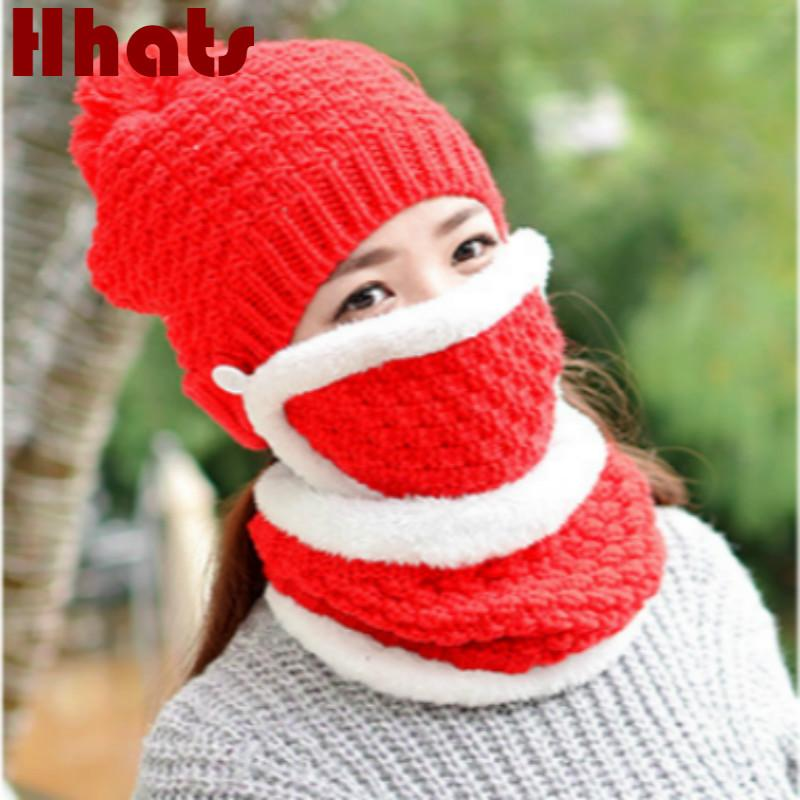 Plus Velvet Warm Mask Scarf Hat Set Outdoor Windproof Riding Beanie With Face Neck Protection Women Knitted Female Cap