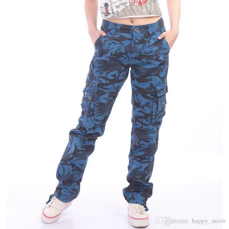 b4181c20d9 Nuovi pantaloni da donna camouflage cargo multi tasche pantaloni da donna  Pantaloni militari dritti per pantaloni da donna