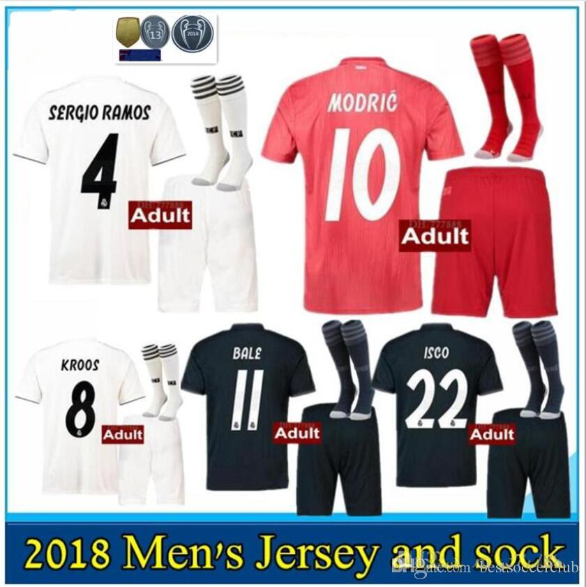 New 2018 2019 Real Madrid Soccer Jersey Adult Kits Home Away 18 19 RONALDO  MODRIC ISCO RAMOS Asensio Football Shirt Full Kit with Socks Real Madrid  Adult ... 06b03876a