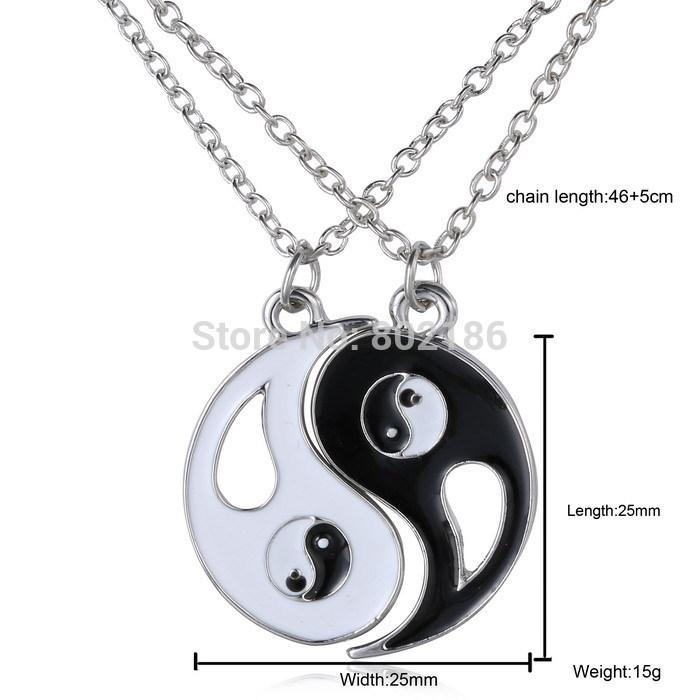2P Yin Yang puzzle Pendant Necklace Black White Couple Sister Friend Friendship Jewelry Unique Personalized Gifts