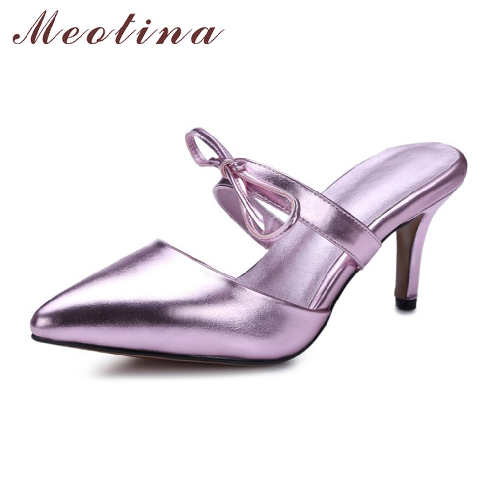 8c4f81a5ec1 Meotina Mules Shoes Women Gold Silver Party Sandals Stilettos Pointed Toe  Bow High Heels Slippers Summer Slides Pink Size 34 43 Womens Loafers Bamboo  Shoes ...