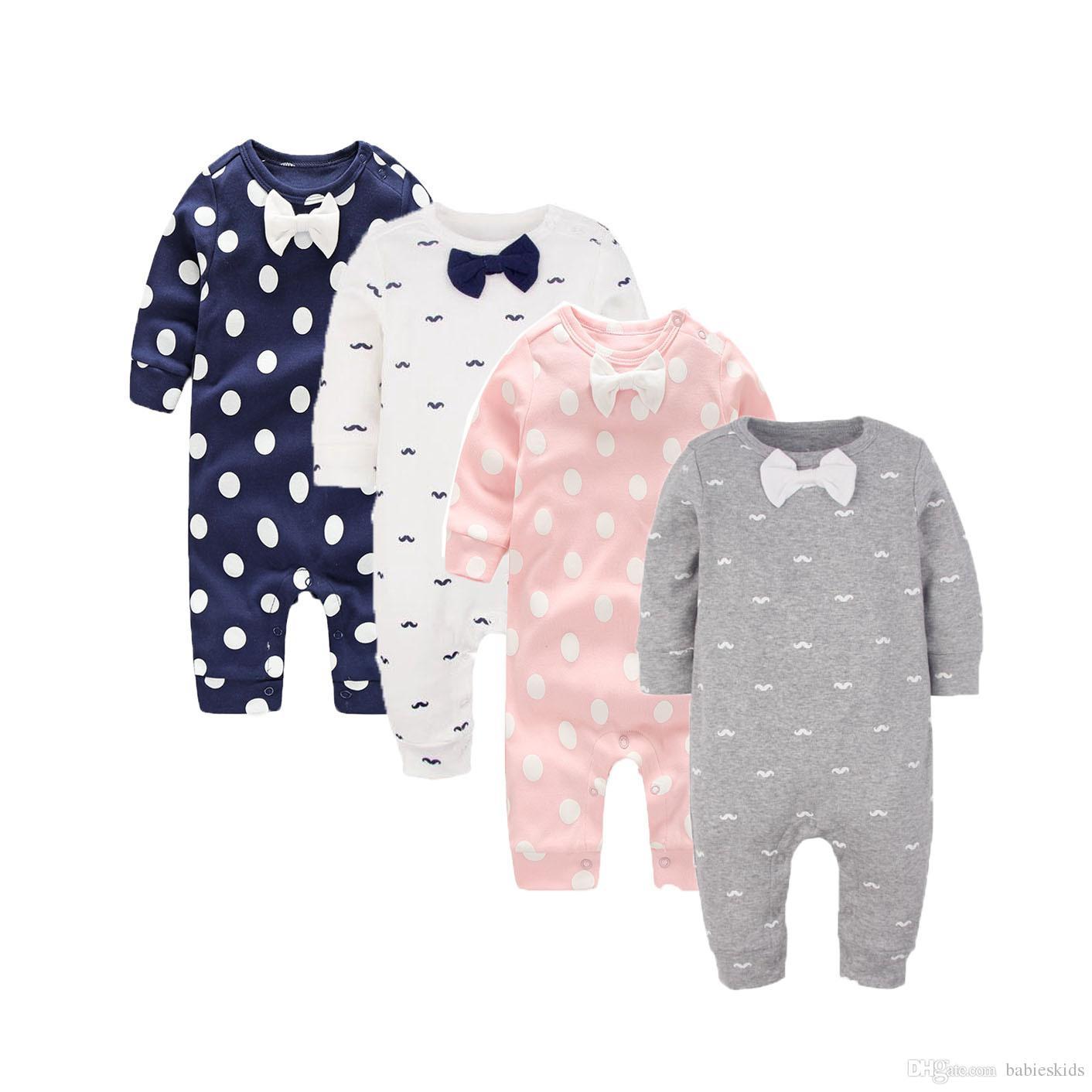 Nettes Baby-Kleidungs-Frühlings-Herbst-Spielanzug-Körper entspricht Baumwollpunkt-Bowknot-langem Hülsen-Baby-Overall-Bart Infantil Babys