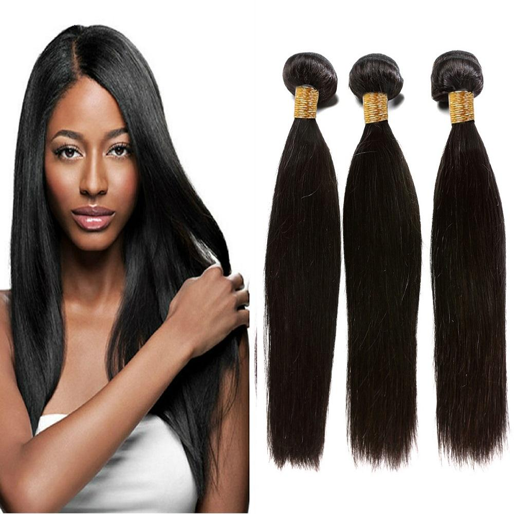100 Virgin Hair Peruvian Straight Hair Weave 3 Bundles Remy Human