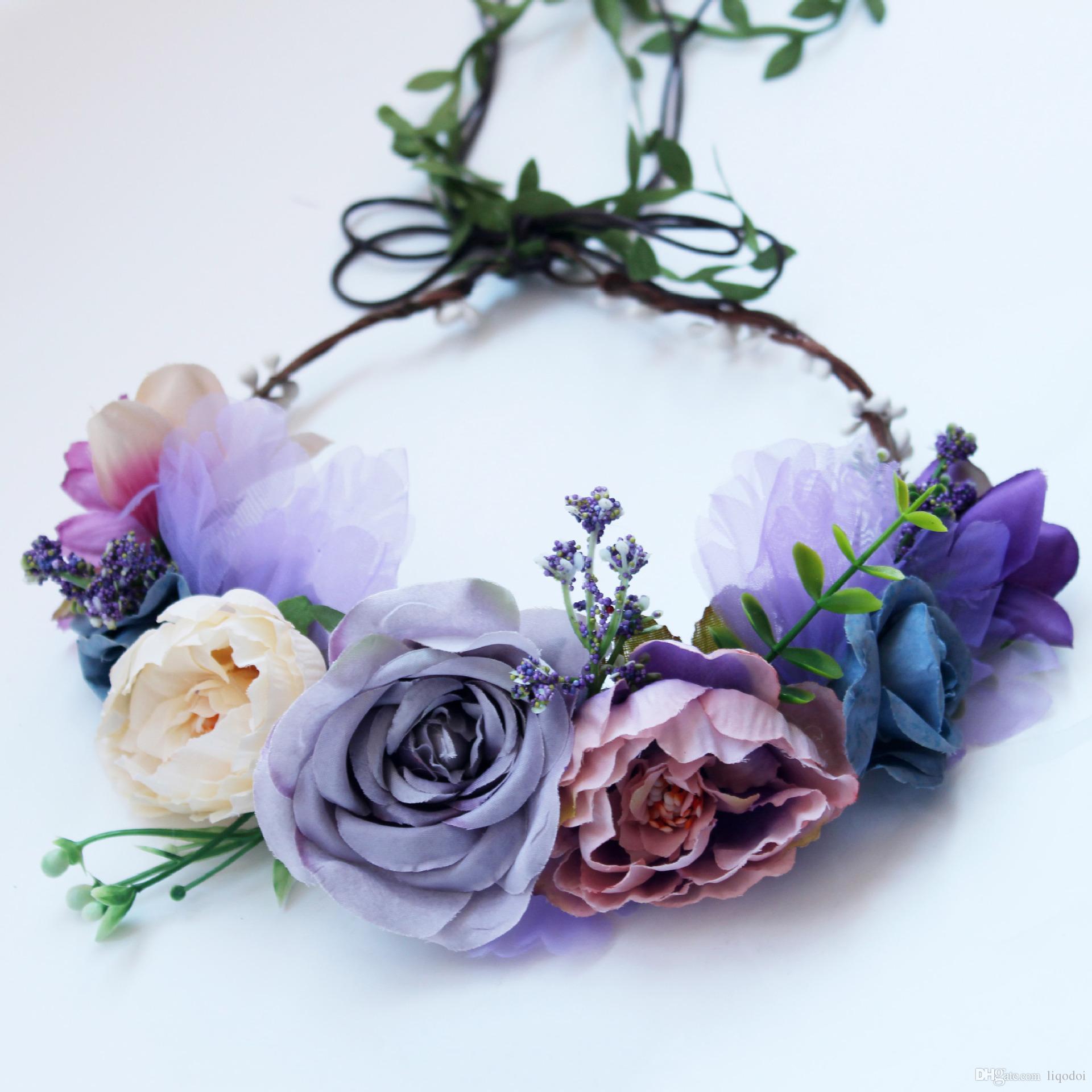 2018 Boho Flower Wreath Artificial Purple Rose Floral Hair Garland