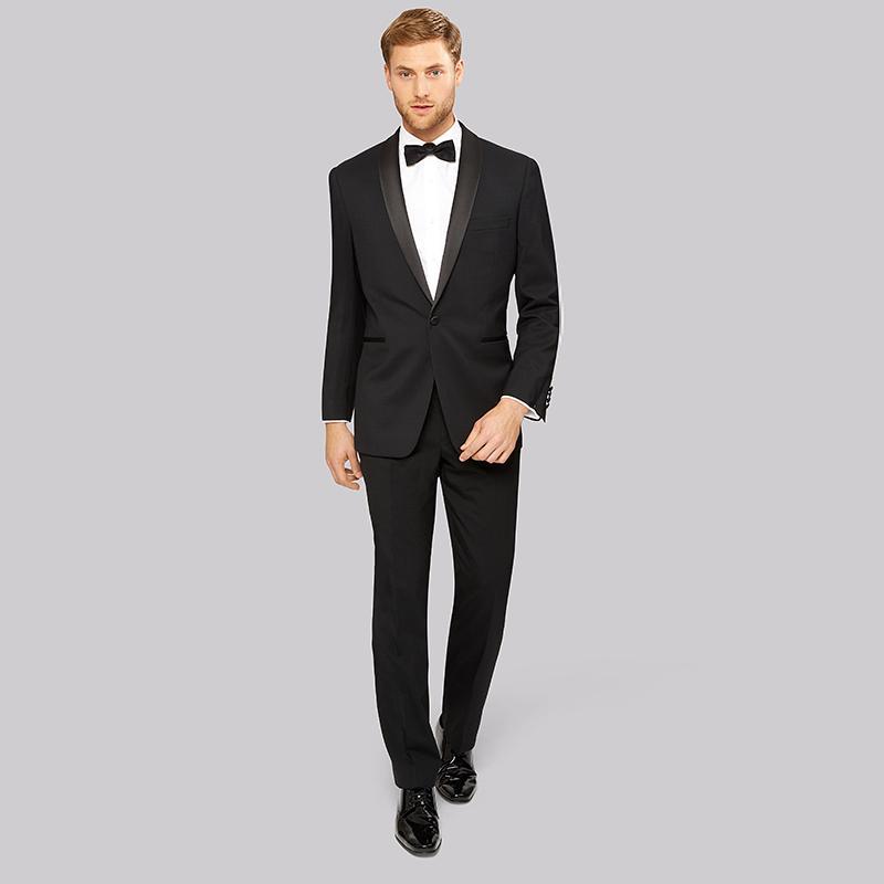 1acf61632d Compre Traje De Hombre Negro Para Boda Chal De Satén Clásico Chaqueta Slim  Fit Hombre Hombre Elegante Casual Elegante Personalizado Trajes De Etiqueta  2 ...