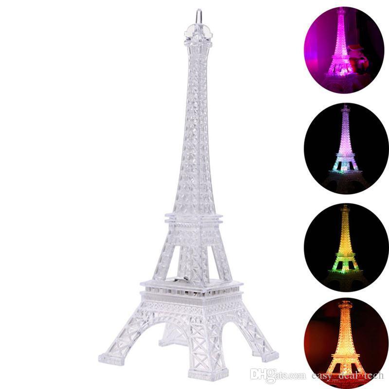 Romántico día de San Valentín grande y colorida luz nocturna Torre Eiffel en París llevó la lámpara de regalo creativo Q0525