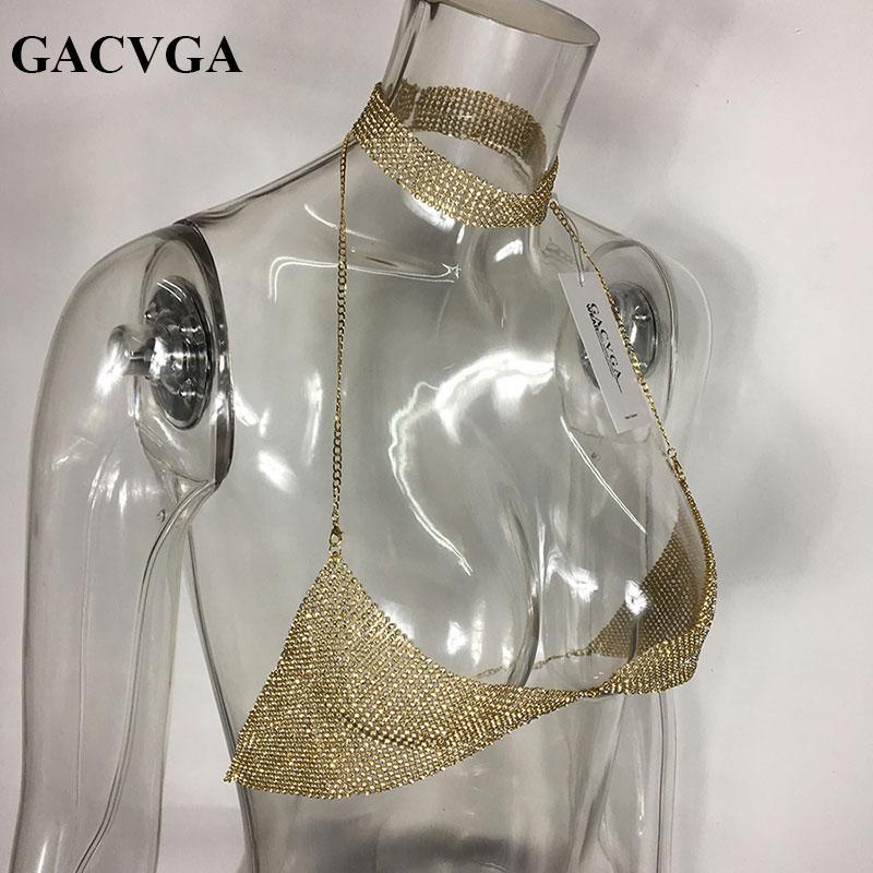 GACVGA 2018 Cristal Diamante Sexy Top Colheita Backless Verão Colheita Tops Mulheres Camis Colheita Cral Partido Bralette T Shirt Blusa
