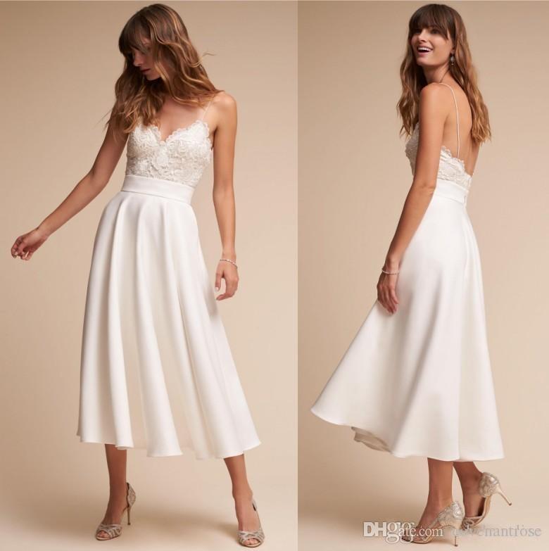 Retro 1920s Tea Length Bhldn Wedding Dresses 2017 Simple A Line Spaghetti Straps Sexy Backless Bridal Gowns Short Wedding Dress Cheap