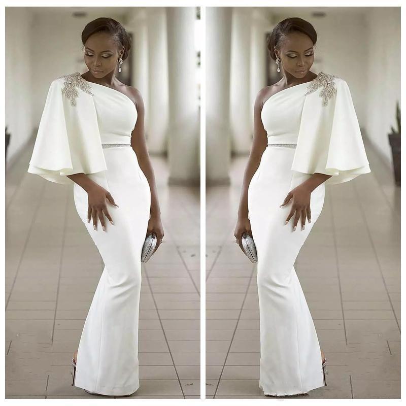 91b1bf4c1e Evening Dresses Wear White One Shoulder Half Sleeves Mermaid Formal Beading  African Dubai Women 2019 Long Sheath Prom Robe De Soiree Gown Evening  Dresses ...