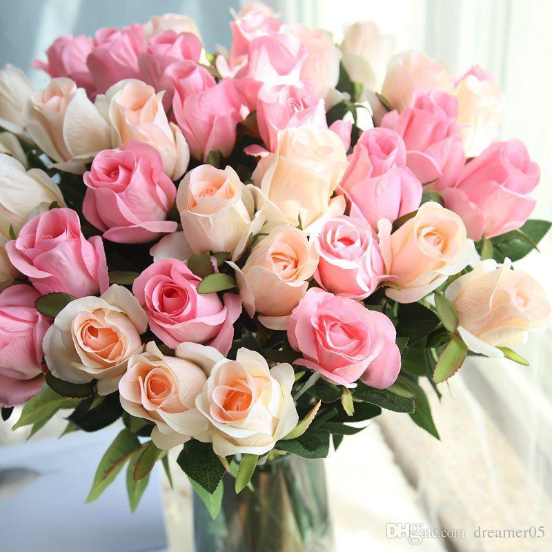 Großhandel Real Touch Künstliche Blumen Rose Knospe Blume Seide ...