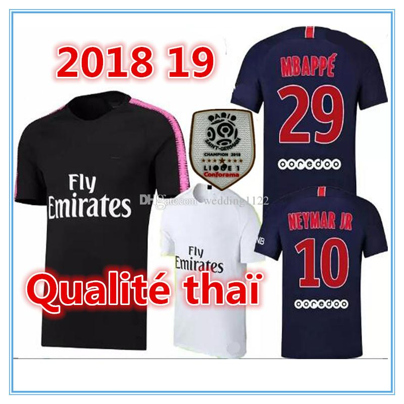 Thai Quality 2018 2019 Soccer Jersey with Ligue Patch 18 19 Mbappe CAVANI  Football Shirts Survetement Maillot De Foot Customiz Soccer Jersey Jersey  Mbappe ... a6852da00a9c2