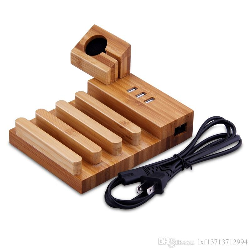 Bamboo Wood Usb Charging Station Desk Stand Charger 4 Ports For Iphone X 8 Plus Apple Watch 3 42mm Ipad And Tablet Pc Cell Phone Pads