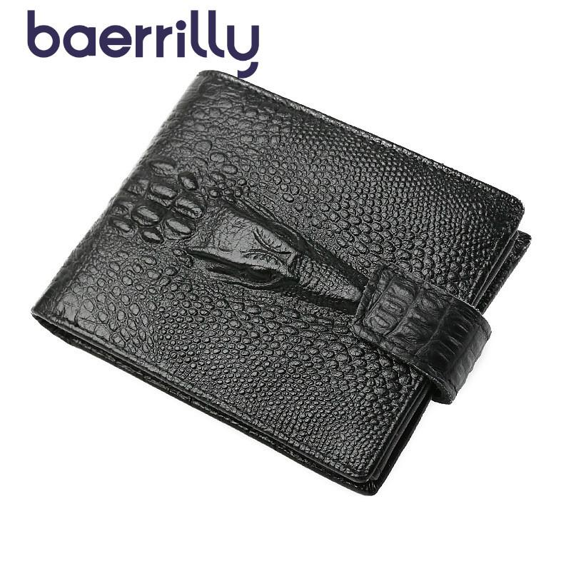 14eec4b56f8e5 New Man Crocodile Grain Short Wallet Genuine Leather Short Coin Purse Male  Fashion Clutch Bag Card Holders Carteira Masculina
