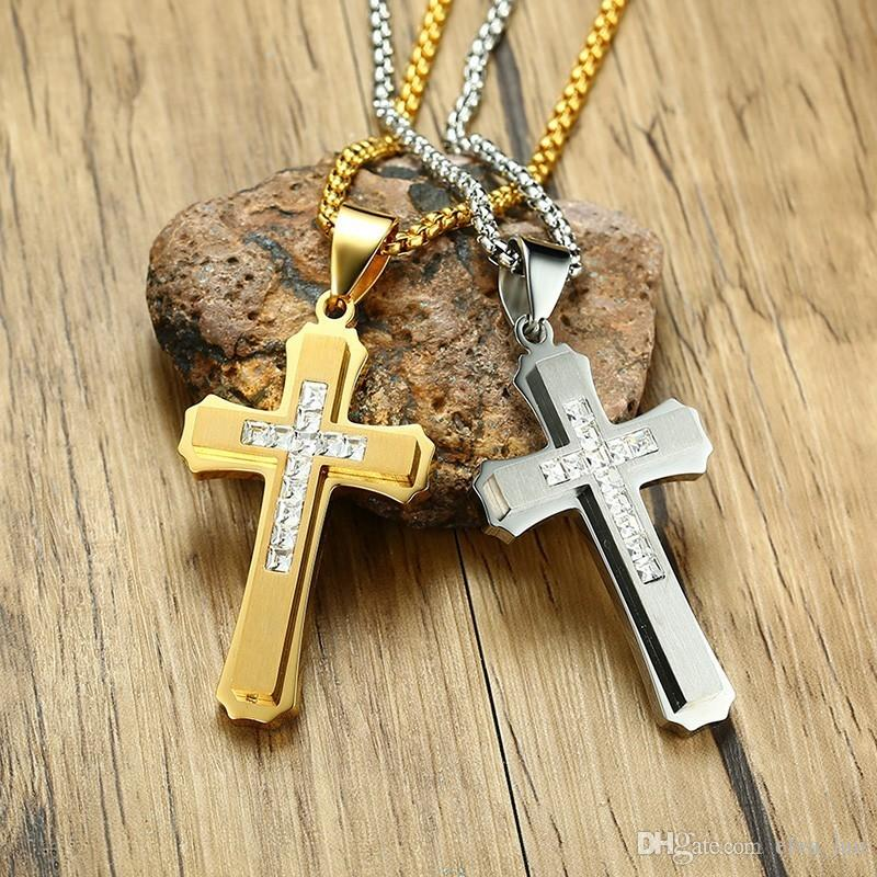 "Religious Jesus Big Cross Pendant Mens Necklace CZ Stones High Polished Stainless Steel Punk Male Rocky Jewelry 24"" Box Chain"