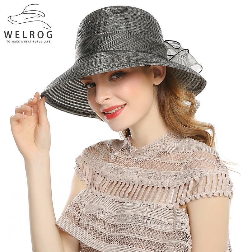 820c9fecddd91e WELROG Elegant Fashion Women's Hats For Women Big Bow Flower Summer Sun  Protect Hat Wedding Wide Brim Sea Beach