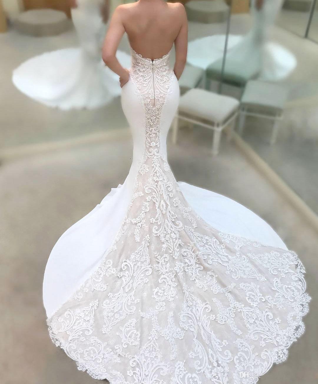 ZYLLGF Sexy Sweetheart Bodice Wedding Dresses Mermaid Court Train Open Back Weddings Bridal Gowns Dress Appliques Lace Vestido De Novia