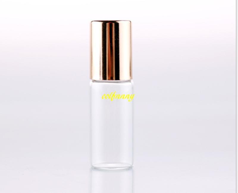 / 17x57mm 5ml bouteilles en verre d'huile essentielle en rouleaux transparents Roller Balls parfums verre Roll On Bottle