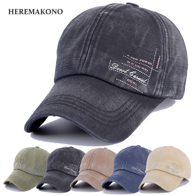 9142709324cb5 HEREMAKONO BRAND Letter Men Baseball Cap Large Brim Cool Male Sun Hat Sports  Breathable Caps Soft Comfortable Hats Adjustable Flat Caps For Men Womens  ...
