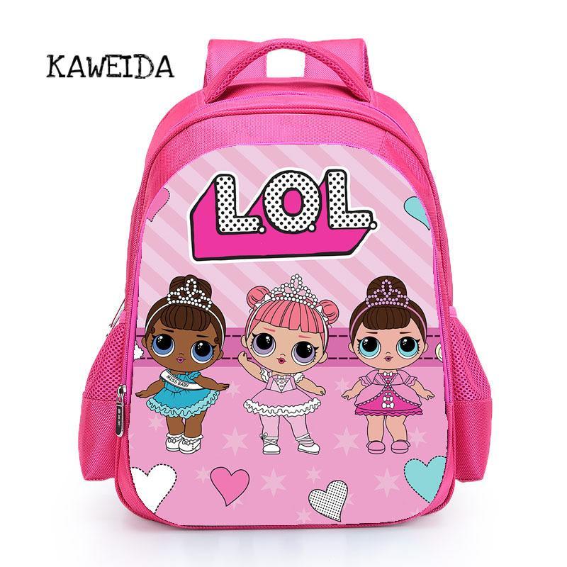 8d17c7be6 Compre Crianças Rosa Mochila LOL Saco De Escola Para Meninas Bonito Nome  Personalizado Impresso Mochila Livro Personalizado Mochila Mochila Presente  De ...