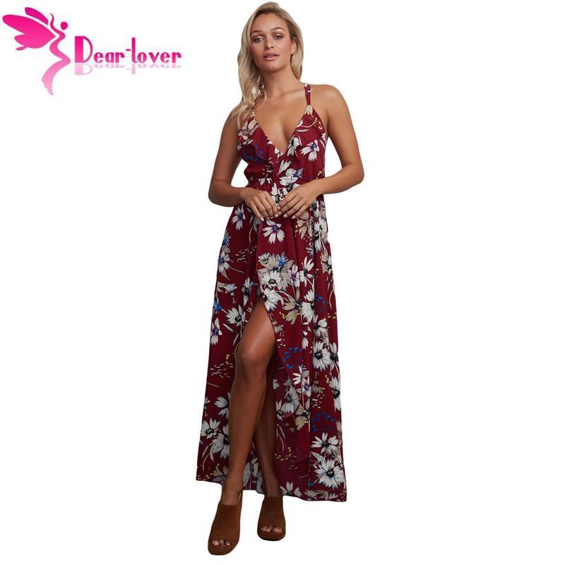 Dear Lover Long Summer Dress Boho Sexy Burgundy Floral Chiffon Spaghetti  Straps Maxi Backless Dress Vestidos Verano 2017 LC61476 Online with   26.28 Piece on ... 215f058acfa9