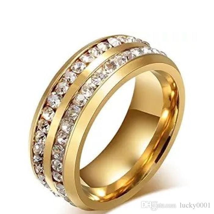 2018 homens de moda de nova anel anel de cristal preto titanium aço full-drill dupla linha círculo anel de casamento de diamante