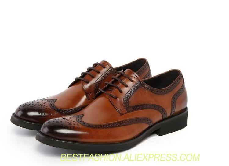 30b29888c9232d Slip-On Men's Dress Oxfords Male Smart Casual Genuine Pointed Toes Carved  Men Shoes Low Heel Patchwork Gradient Lace-Up Shoes