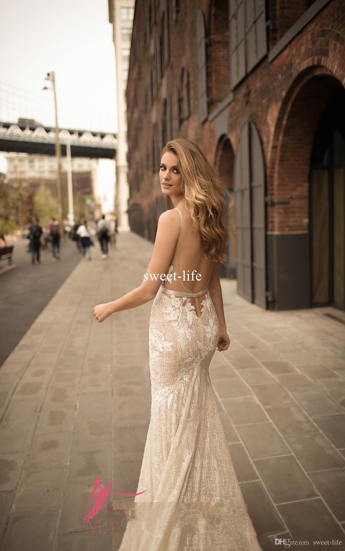 Berta Wedding Dress Collection 2020 Nigerian Lace Styles Mermaid Backless Sexy Beach Adoration Bride Sheer Neck Custom Made Bridal Gowns