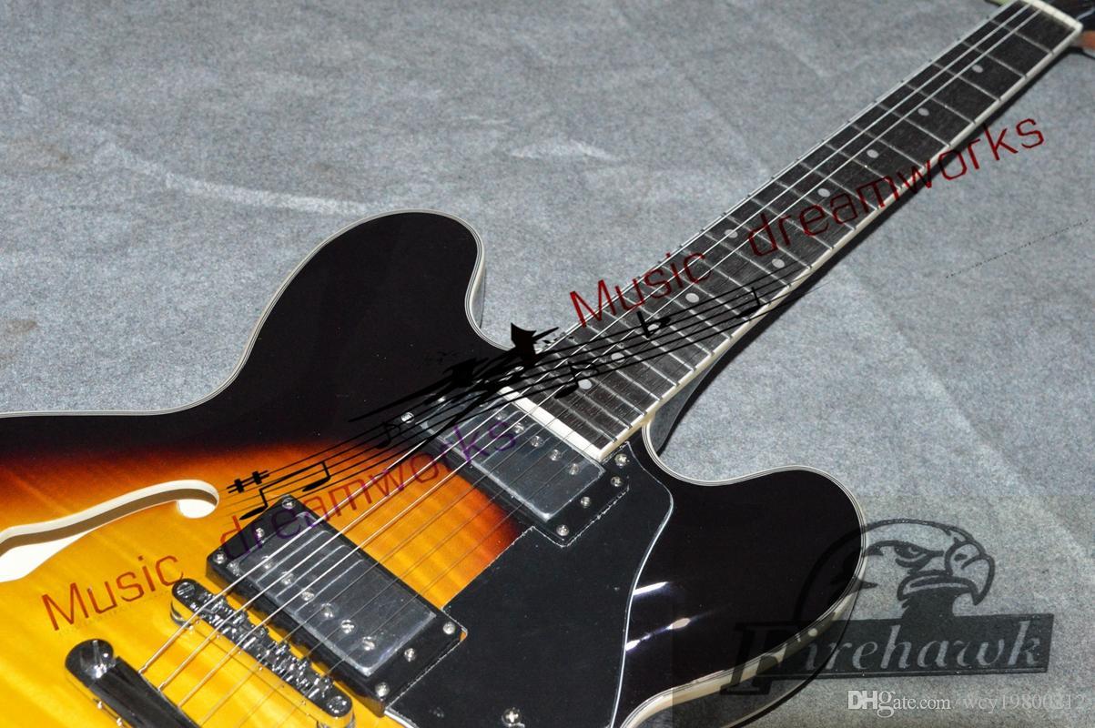 Personalizado 335 Jazz Guitarra Elétrica preto cereja Guitarras New Arrival Frete grátis