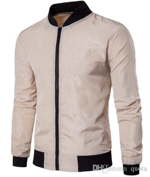 Nouveau printemps hommes mince couche de sport de couleur unie hommes occasionnels stand col mince revêtement avec poche