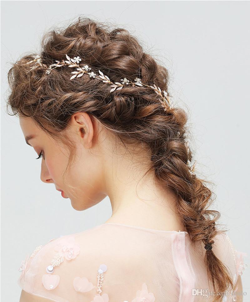 Pearl Bridal Headpiece Hairbands Hairpins Leaf Headband Wedding Headdress with Diamond Wedding Hair Accessories Bride Tiara Jewelry