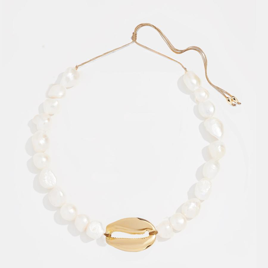 bab15c890ede4 boho Puka Natural cowrie Shell necklace women statement pearl baroque  bijoux choker necklace Collier de coquillages jewelry