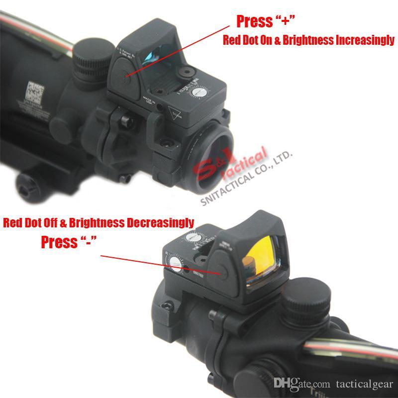 Новый Trijicon ACOG 4x32 волокна источник красная подсветка прицел ж / RMR микро красная точка отмеченная версия черный